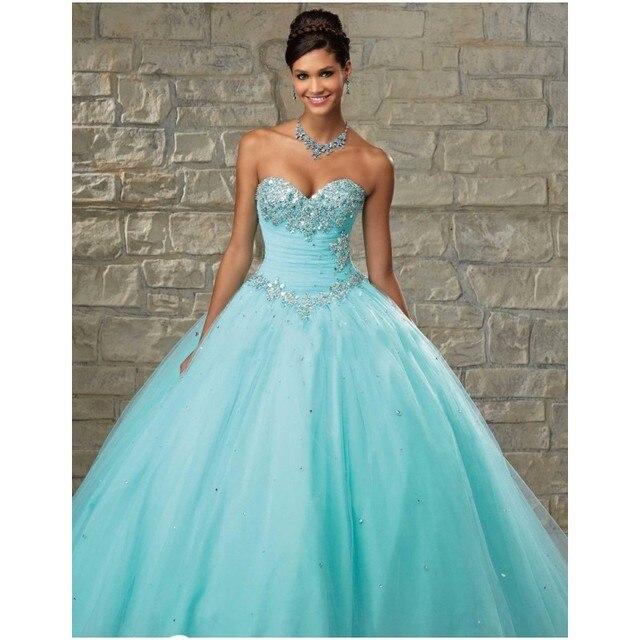6b2ba70c1d5b Aqua verde quinceanera vestido de debutante 2017 sweet 16 vestidos de  princesa vestido de baile online