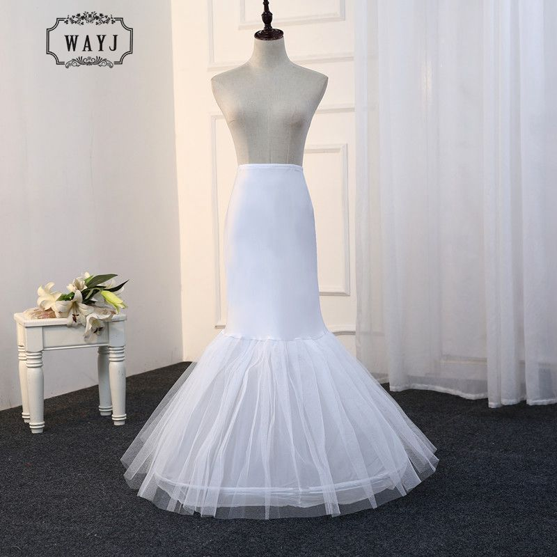 WAYJ 2019 New Elastic Waist 1 Hoop Mermaid Petticoat And Combination Of Hard Yarn And Satin Petticoat