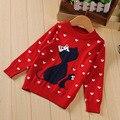 2016 primavera otoño nueva moda chica suéteres bebé de dibujos animados corazón patrón del gato de manga larga un cuello rojo azul marino suéter tops