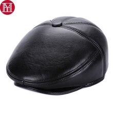 Hot Sale Casual Men Real Sheepskin Leather Berets Hats Winter Warm Mal