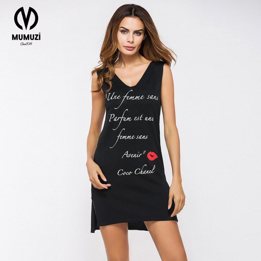 e110374a5d MUMUZI Sexy 2017 black dress Women print letter and red lips summer dress  Beach party short dresses casual tank dress vestidos-in Dresses from Women s  ...