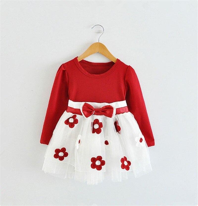 2016 Baby Princess Girls Toddler New Born Flower Dress for Newborn Long Sleeves 1-2 Year Birthday Baby Dresses for Children