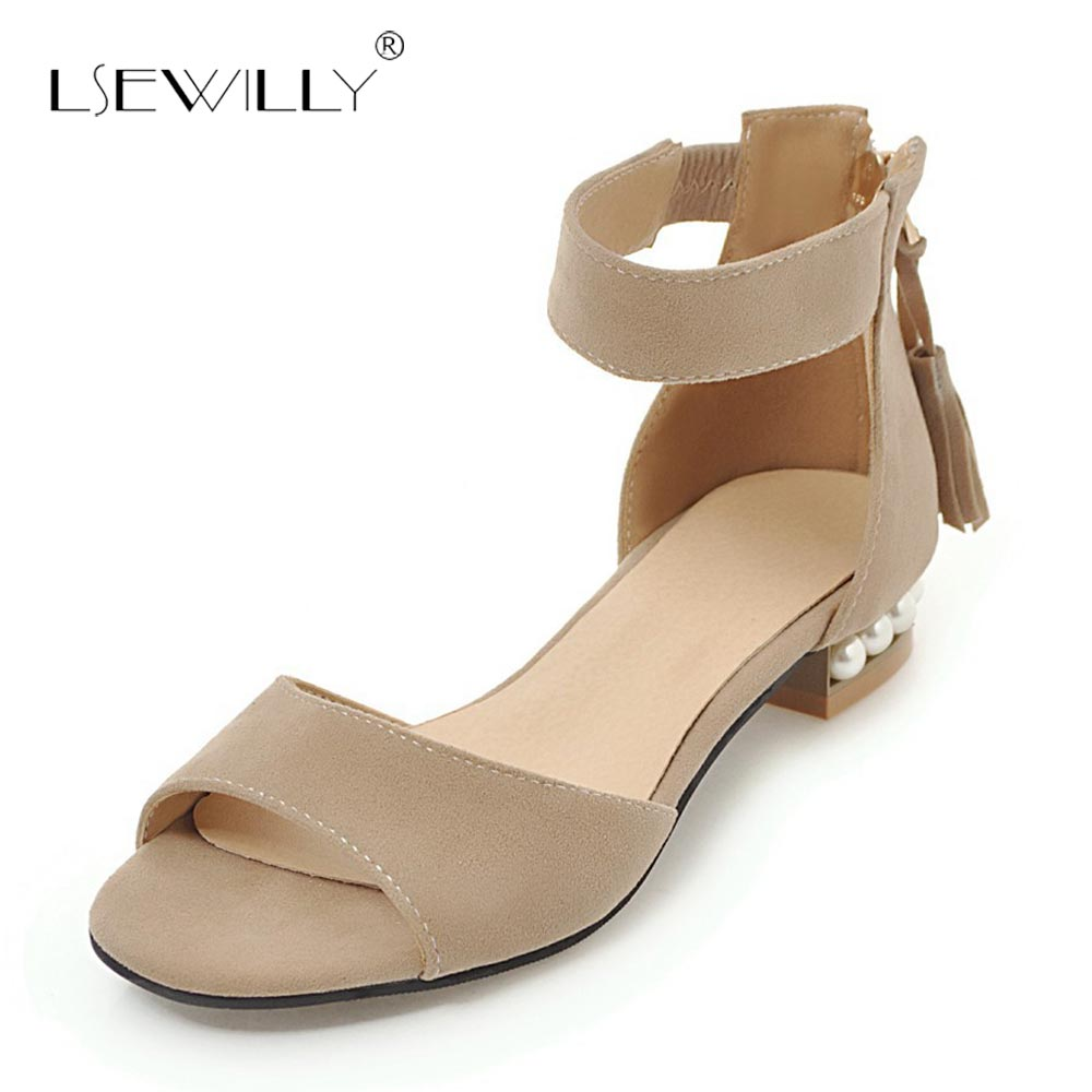 Lsewilly 2018 Women summer Chunky Heel Sandals Shoes Woman Cover Heel Zipper Black Yellow Beige Sandals Big Size 34-46 S234