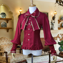 Spring Fashion Womens Lolita Chiffon Inside Shirt Office Ladies Vintage Slim Blouse Gold Lace Bow Long Sleeve Casual Shirts