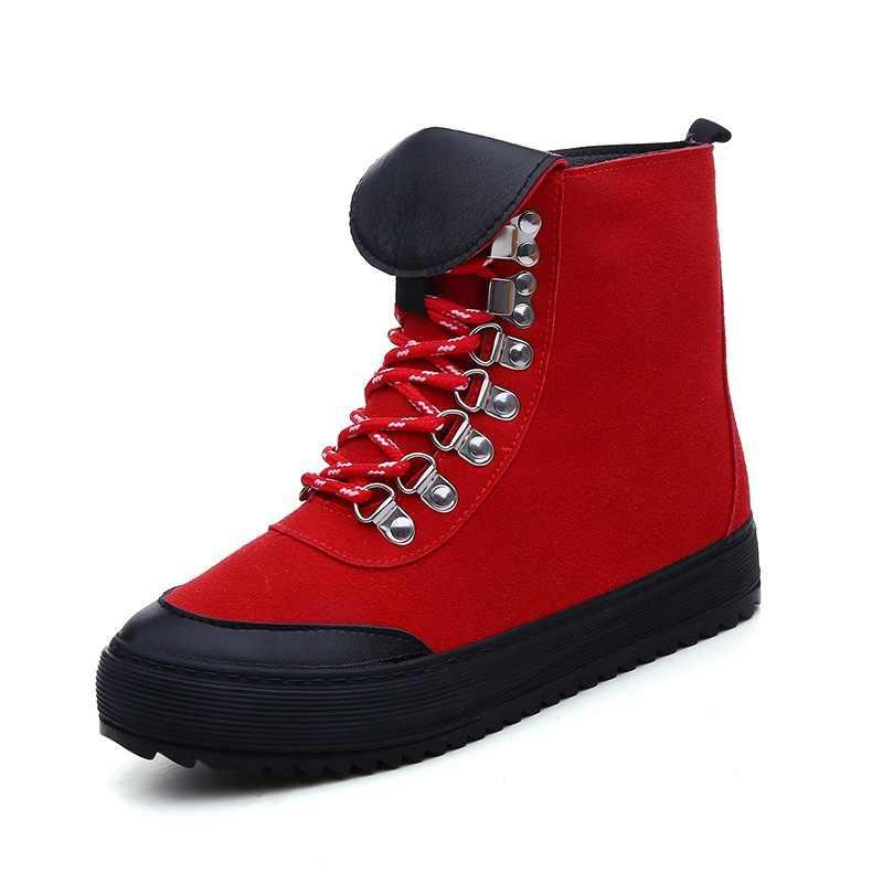 Scarponi Da Neve Stivali Da Moto della caviglia Scarpe Da Donna Piatto Femminile In Pelle Scamosciata Lace-Up di Gomma Stivali Invernali Delle Donne botas