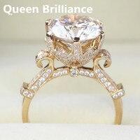 Nữ hoàng Brilliance Luxury Chính Hãng 14 k 585 Vàng Gold 5 Carat DEF Màu Lab Grown Đính Hôn Moissanite Diamond Ring Đối Với phụ n