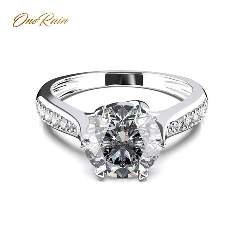 OneRain Vintage 100% 925 Sterling Silver White Topaz Gemstone Wedding Engagement Ring Anniversary Fine Jewelry Gift Wholesale