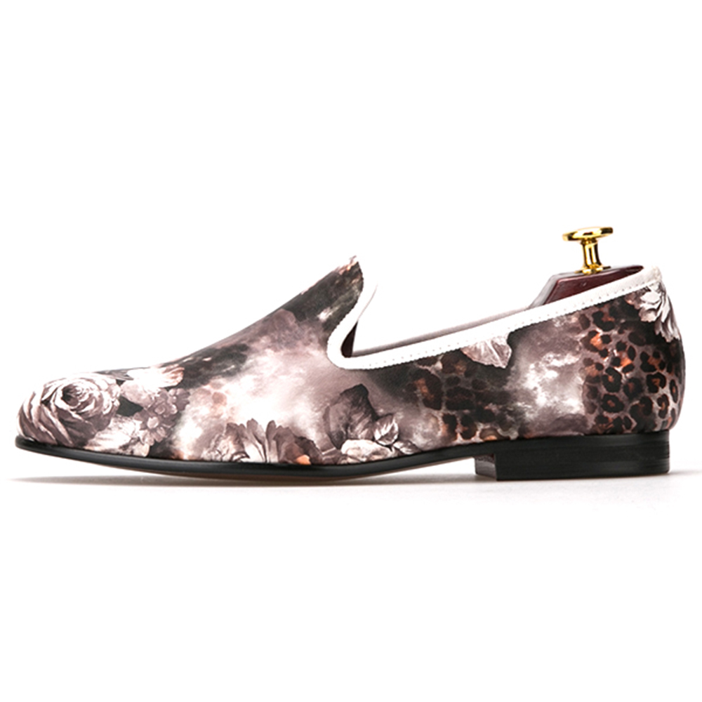 Men's leopard mix and match the trend of low-cut white flowers men shoes mens dress shoes small beginnings mix and match