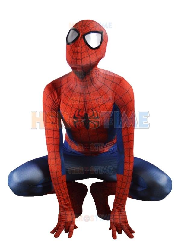 Ultimate Spiderman kostym Classic Spandex Fullbody Superhjälte Spiderman Morph kostym Halloween Zentai Bodysuit Gratis frakt
