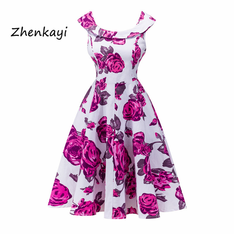 Women <font><b>Dress</b></font> Retro <font><b>Vintage</b></font> <font><b>1950s</b></font> <font><b>60s</b></font> Rockabilly Floral Swing Summer <font><b>Dresses</b></font> Elegant Bow-knot Tunic Vestidos image