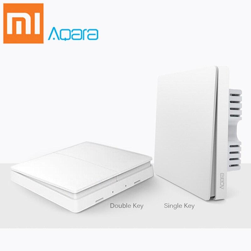 Xiaomi Aqara Switch Smart Light Control ZiGBee wifi wireless Wall Switch Via Smartphone Remote Smart Home work with mijia App цена и фото