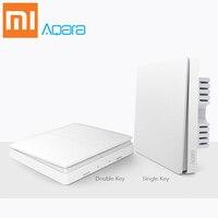 Xiaomi Aqara switch Smart Light Control Fire Wire Zero Line ZiGBee Double Single Key Wall Switch Version Mi Home APP Control