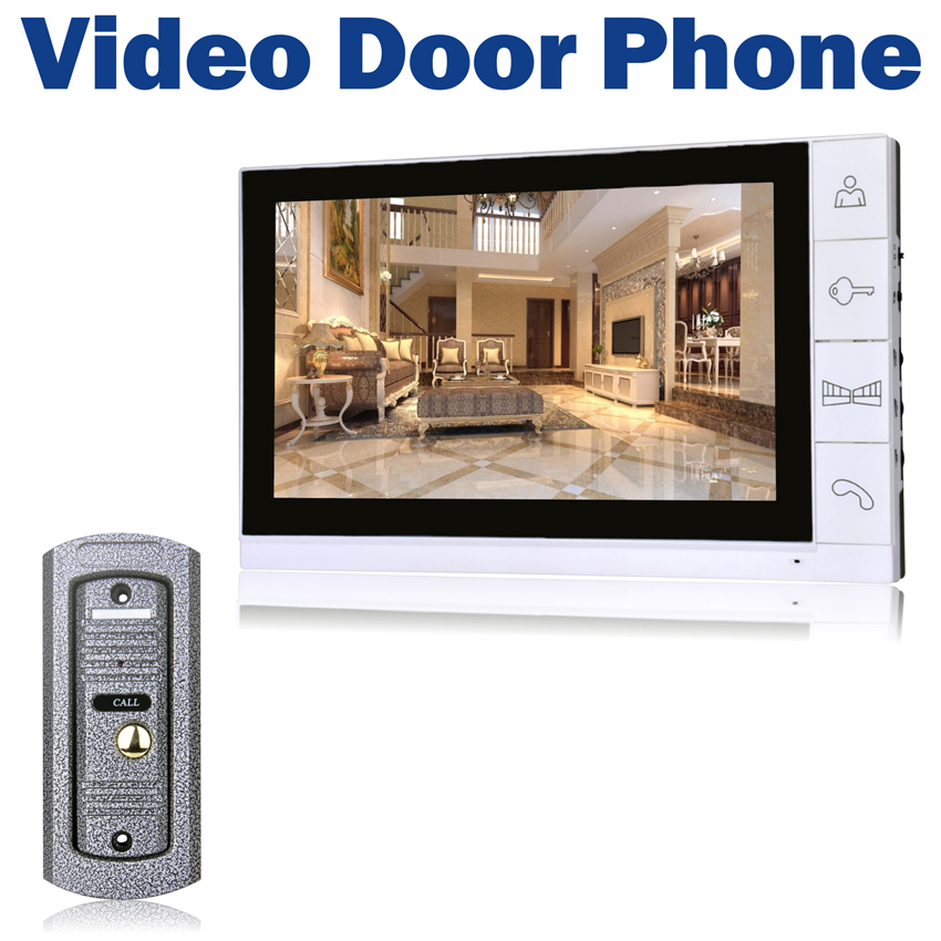 9 LCD Monitor Wired Video Door Phone 700TVL IR Camera Night Vision Key Button Doorbell Intercom System 7tft lcd free disturb wired audio video door intercom system with night vision monitor doorbell for 10 apartments of 1 building