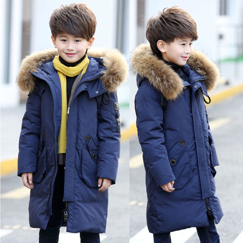2018 Teenage Boy Parkas Children Winter Warm Coat Boy's Down Jacket Long Thick Winter Jacket Children's Warm Coat Raccoon Fur 2017 new winter fashion women down jacket hooded thick super warm medium long female coat long sleeve slim big yards parkas nz18