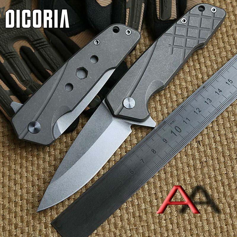 DICORIA Rock Folding knife Titanium handle S35VN blade Flipper bearing Tactical camping survival Drills Saws Knives EDC tools outlife new style professional military tactical multifunction shovel outdoor camping survival folding spade tool equipment