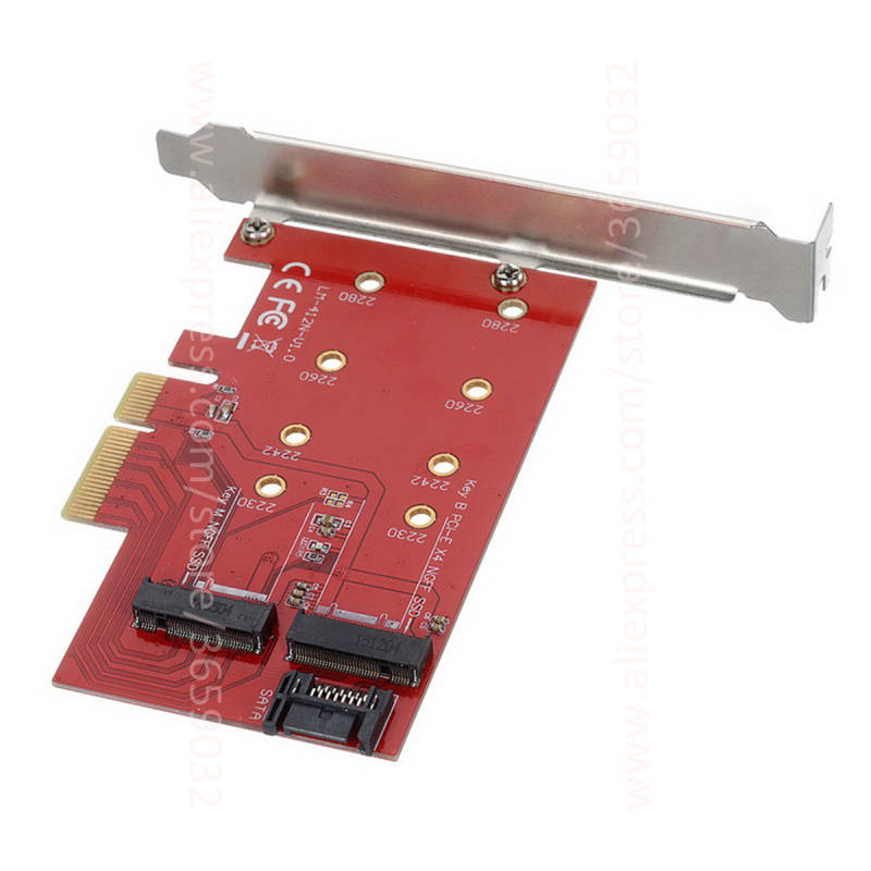 M.2 NGFF 4 Lane SSD to PCI-E 3.0 x4 pcie 4x & NGFF to SATA Adapter card for NVME XP941 S ...