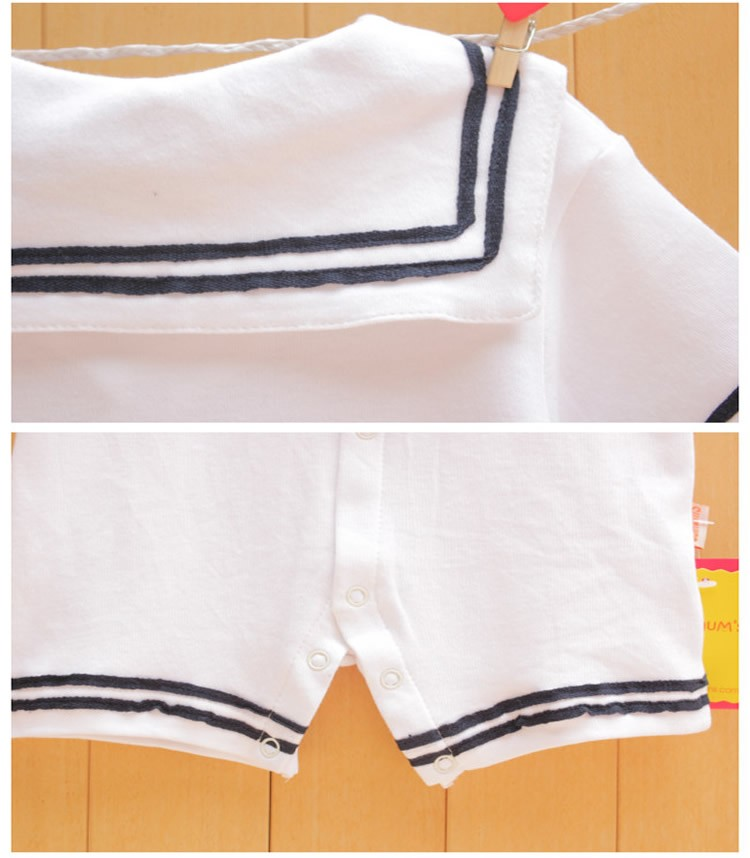 17 Newborn baby clothes White Navy Sailor uniforms summer baby rompers Short sleeve one-pieces jumpsuit baby boy girl clothing 6