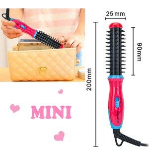Image 5 - NOVUS Ceramic Curling Iron Brush Travel Mini Hair Curler Roller Comb Electric Hairbrush Styler Women Styling Tools 220V