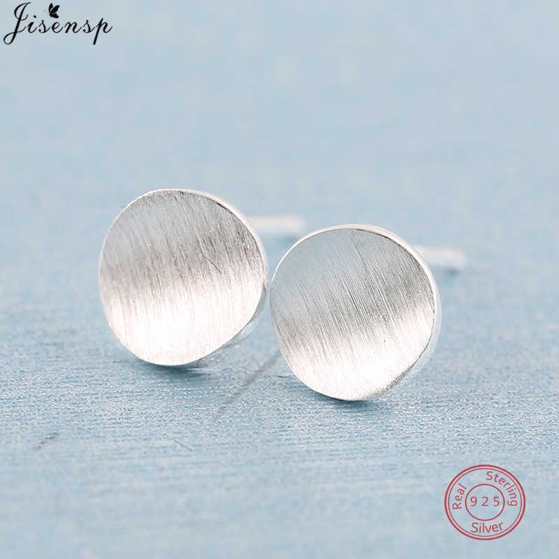 Jisensp 925 prata esterlina fosco simples redondo brincos para as mulheres criativo brincos geométricos pequena orelha studs festa jóias