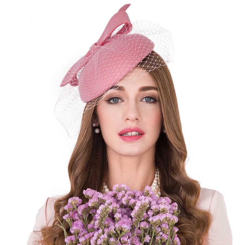 09217c5053b ... FS Fascinators 100% Wool Felt Pillbox Hat For Women Elegant Pink Bow  Ladies Wedding Dress ...