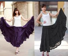 2019 Summer Women layers Long Skirt Linen Cotton Waist Pleated Maxi Beach 8 color Optional