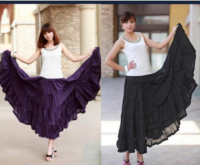 2019 Summer Women layers Long Skirt Linen Cotton Waist Pleated Maxi Beach Skirt 8 color Optional