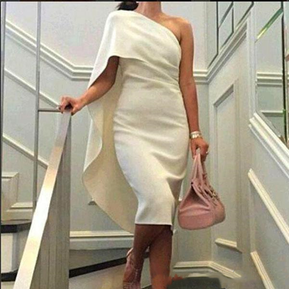 2019 Fashion   Cocktail     Dress   Evening Party   Dresses   Sheath Column Fitted One Shoulder Under Knee Length Club Gowns