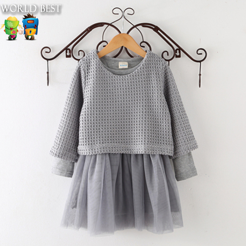 Girls Spring Clothes New Arrival 2017 Korean Kids Clothes Girls Knitted Long Sleeve+Dress 2 Pcs Set Skirt Kids Clothing For Sale girls dress winter 2016 new children clothing girls long sleeved dress 2 piece knitted dress kids tutu dress for girls costumes