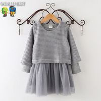 Girls Autumn Clothes New Arrival 2015 Korean Kids Clothes Girls Knitted Long Sleeve Dress 2 Pcs