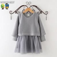 Girls Autumn Clothes New Arrival 2015 Korean Kids Clothes Girls Knitted Long Sleeve Dress 2 Pcs