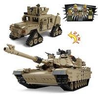 Кази 1463 + шт века Военная Униформа M1A2 Abrams Танк пушки деформации Hummer автомобили здания Конструкторы Совместимость legoe детские игрушки
