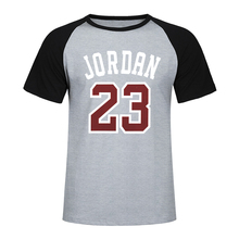 Brand 2019 New Tee Jordan 23 Print Men Raglan T-Shirt Fashion Casual Summer Cotton Jordan 23 Hip Hop Short Sleeve T Shirt Men two tone raglan sleeve tee