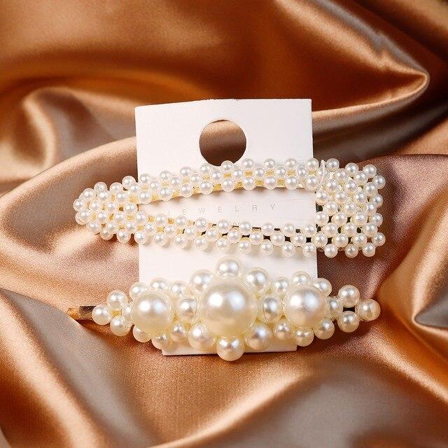 Nueva llegada 2 unids/set pinza de pelo de perlas Snap Barrette Stick triangular horquilla estilo coreano INS horquillas para Mujer Accesorios para el cabello