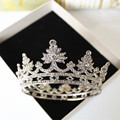 tocados para novias Mini crown Rhinestone christmas shape round crown princess bride crown