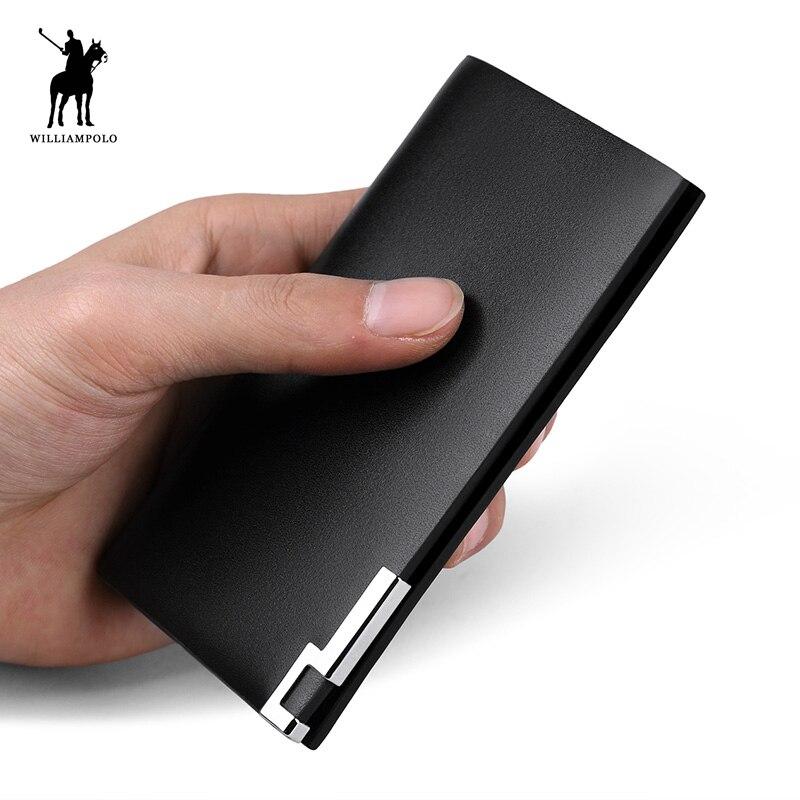 WilliamPOLO 2019 à la mode 100% en cuir de vache oreiller solide Original marque usine directement vendre portefeuille porte-cartes PL208