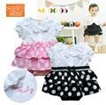 2014 НОВЫЙ летний bebe ползунки девочка sleepsuit наряды горошек с коротким рукавом ползунки младенцы носить детская одежда