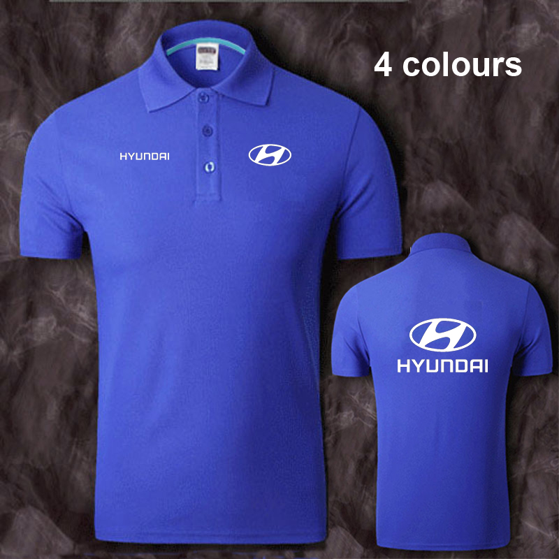 Cotton Hyundai logo   Polo   Shirt Mens Short Sleeve Summer Casual Solid   Polo   Shirts   Polos