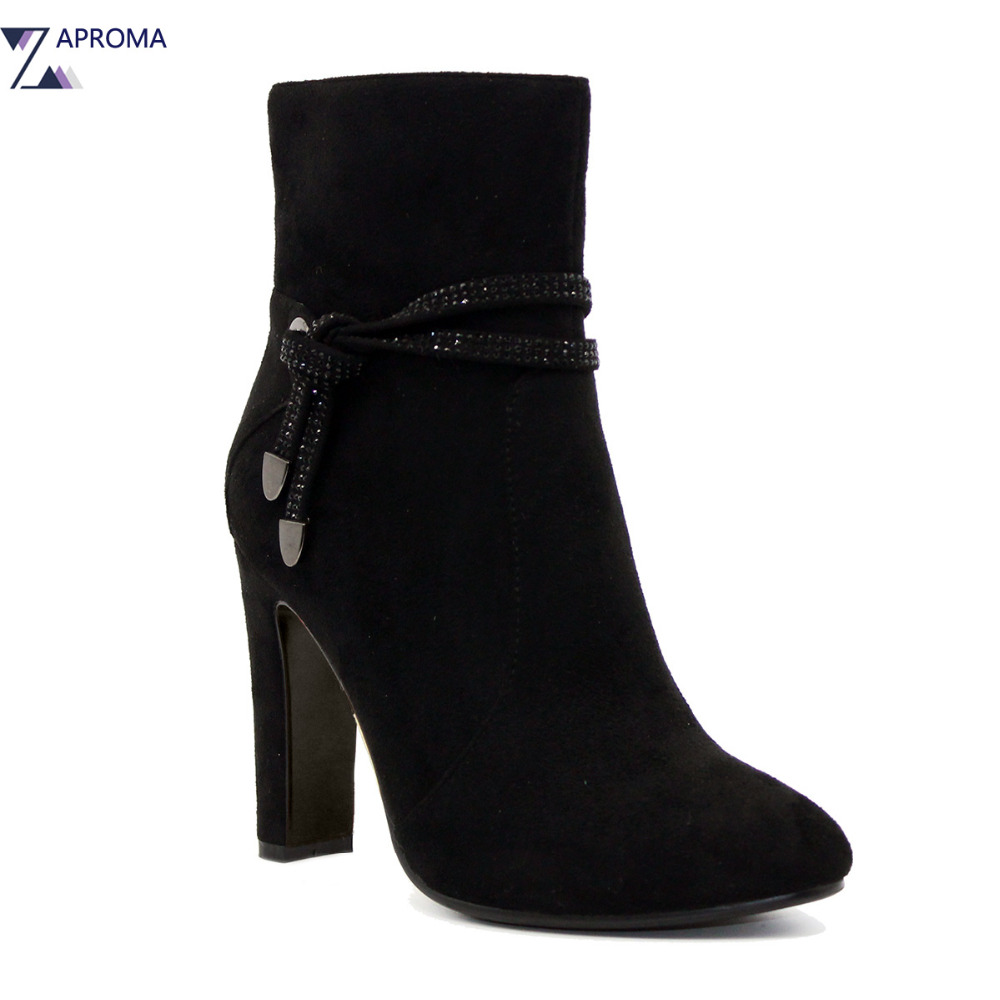 Women Ankle Strap Chunky Heel Ankle Boots Elegant Suede Super High Heel Black Fleeces Shoes 2018 Round Toe Female Winter Spring black women ankle boots handmade vintage medium heel round head shoes elegant boots xiangban
