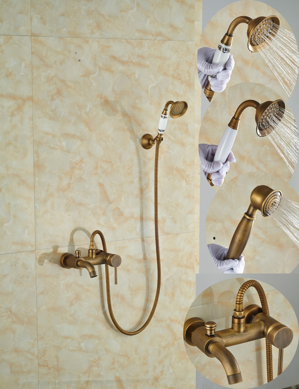 2016 Modern Antique Brass Bathroom Tub Faucet Single Handle Dual Holes Tub Spout Mixer Tap W/ Hand Shower wall mount single handle bath shower faucet with handshower antique brass bathroom shower mixer tap