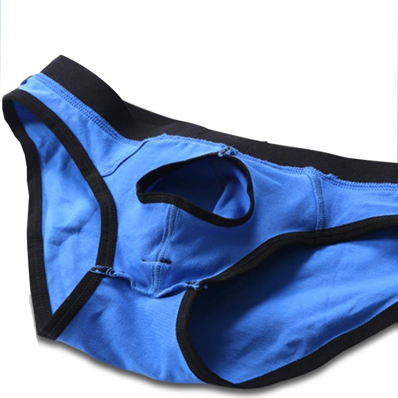 Separate Men's Underwear Sexy Briefs Men Cotton Panties Penis Hole Open Front Male Underpants Pouch Breathable Bulge Linerie