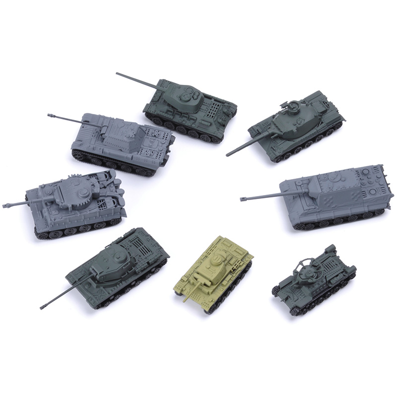 8pcs 1:144 4D Assemble Tanks World War II Tank Model Tiger T34 Hunting Tank Scene Sand Table Model World Tanks Collection Toy