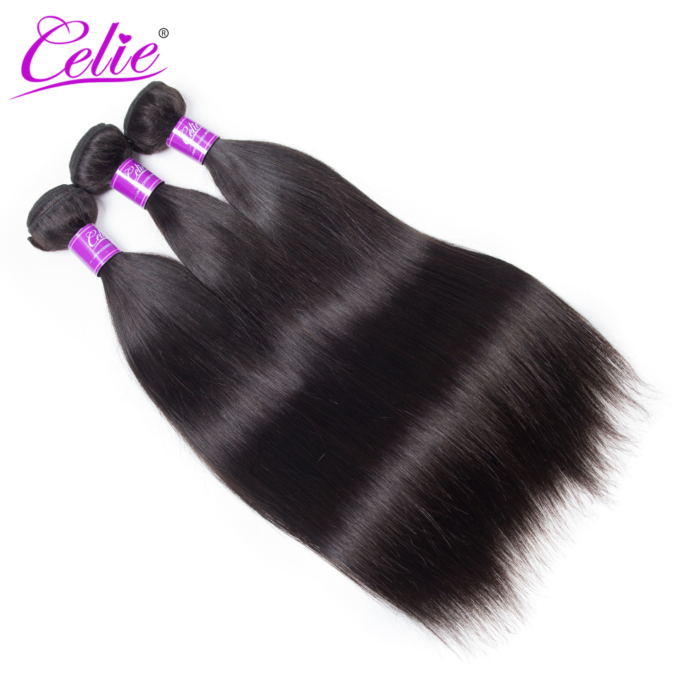 Celie Hair Brazilian Straight Hair Bundles With Frontal Remy Lace Closure Frontal With Bundles Human Hair 3 Bundles With Frontal
