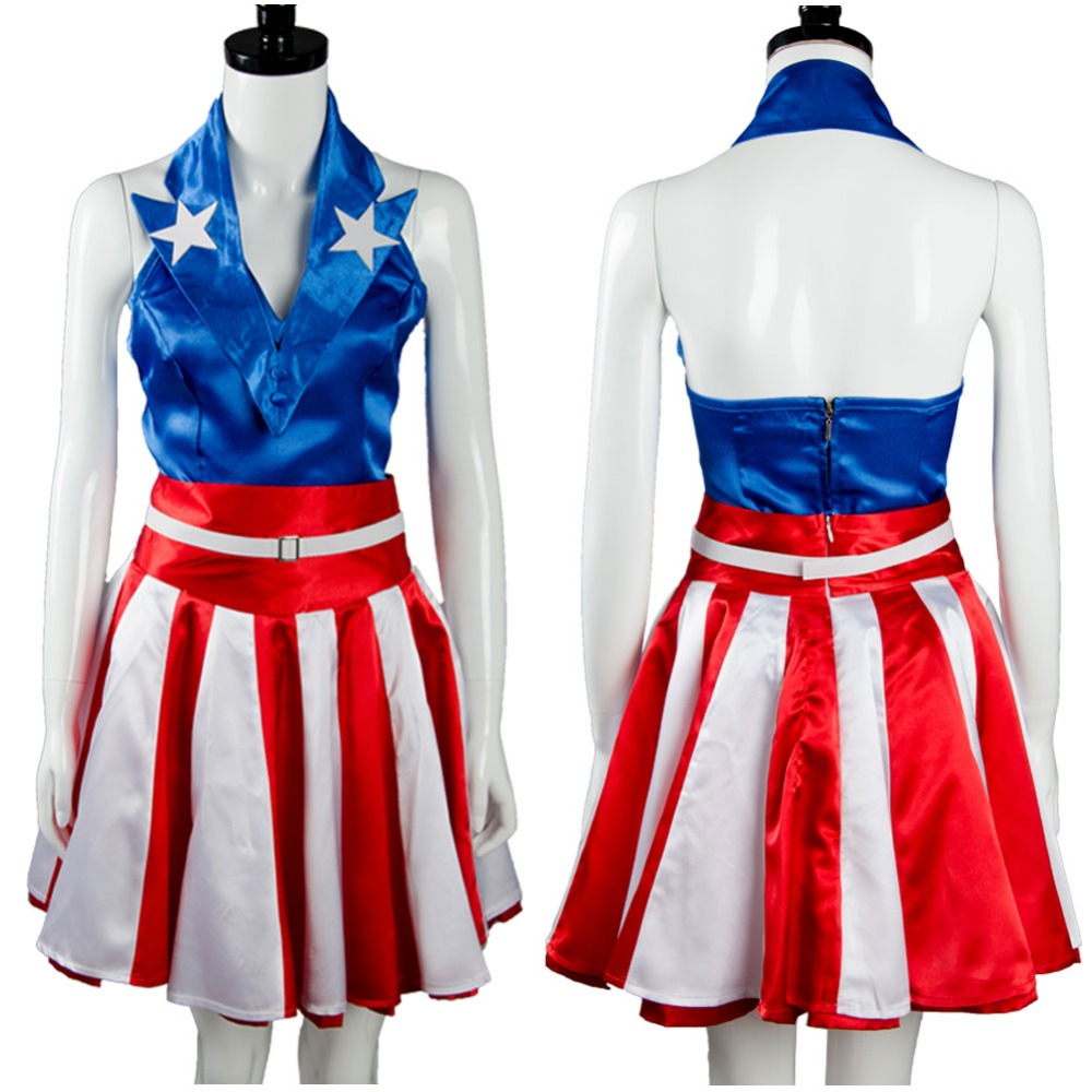 The Avengers Captain America Cheerleader Dress Vest Hat Halloween Movie Cosplay Costumes For Adult Women Full Sets