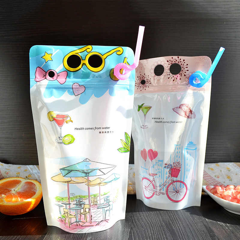 plastic bags diy Vegetable juice Fruit juice beverage  with Hole Handle Cute cartoon design packaging bag 13*23+4 100pcs