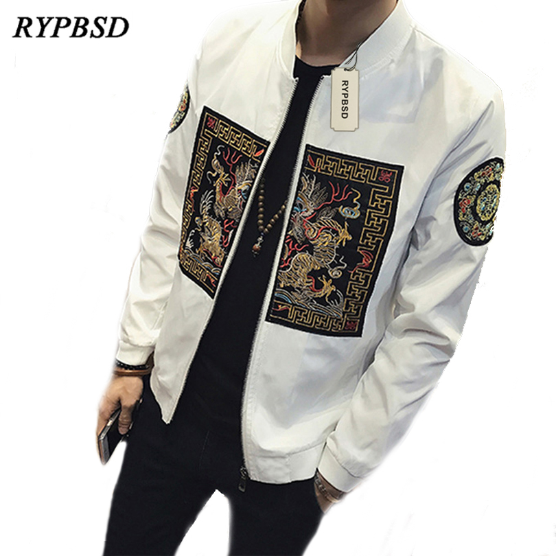 Spring Bomber Jacket Men 2020 Chinese Style Qing Dynasty Dragon Robe Embroidery Mens Jackets and Coats Casual Windbreaker 5XL