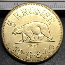 1944 Гренландия(Дания) 5 крон-христианский X медная монета КОПИЯ 31 мм
