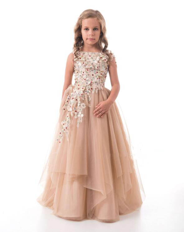 Champagne New 3D Flowers Beaded Lace Flower Girls Dresses for Wedding Pageant Gown Party Birthday Dress for little girls цены онлайн