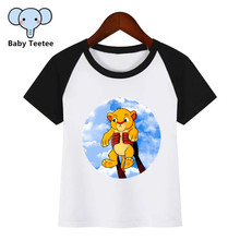 все цены на Kids Summer Tops Boys Girls Cartoon The Lion King Simba Cute Print T-shirt Children Funny Short Sleeve Baby Clothes