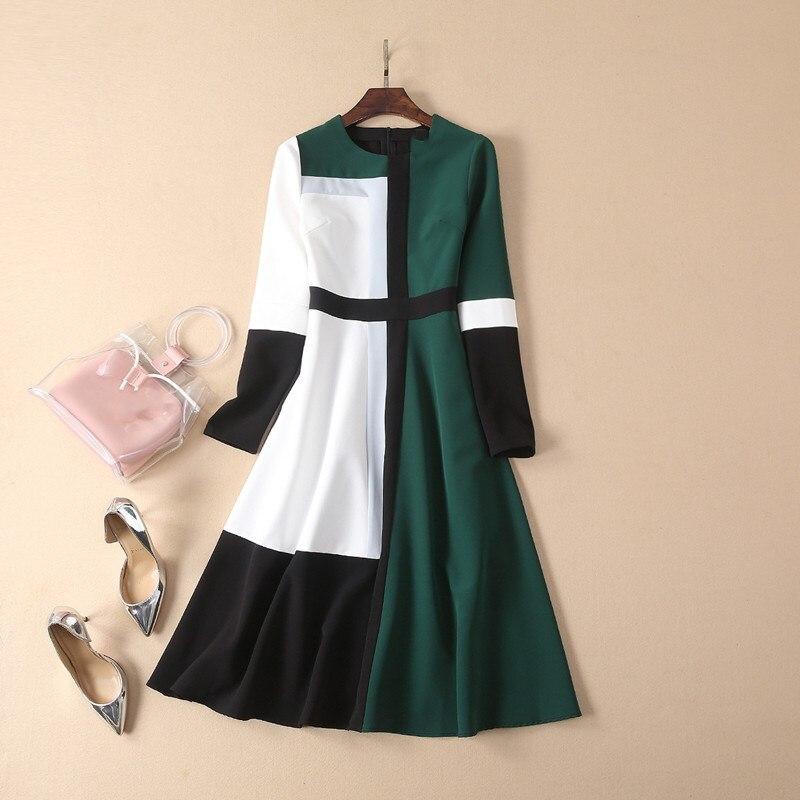Simple Elegante Verde Color Vestido Mujer Midi Primavera Diseñador De Manga Mujeres 2019 Pista Contraste Con Larga 7tznwqFZn
