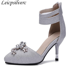 Spring new water drill point shoe bright slender and high heel single shoe  silver bride married 7f61d269e3a5
